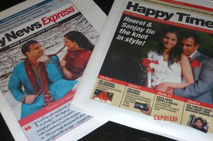 zwei Hochzeitszeitungen vor und nach der Hochzeit herausgegeben mit Fotos