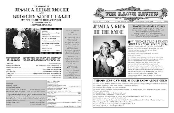 zwei Hochzeitszeitungen von einem Brautpaar mit Fotos, die die Liebe von beiden zeigen