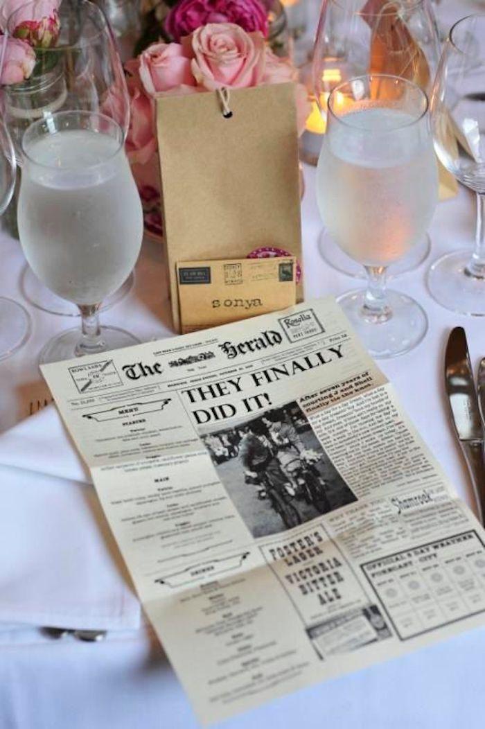 Endlich haben Sie es geschafft ist die Schlagzeile von der Hochzeitszeitung