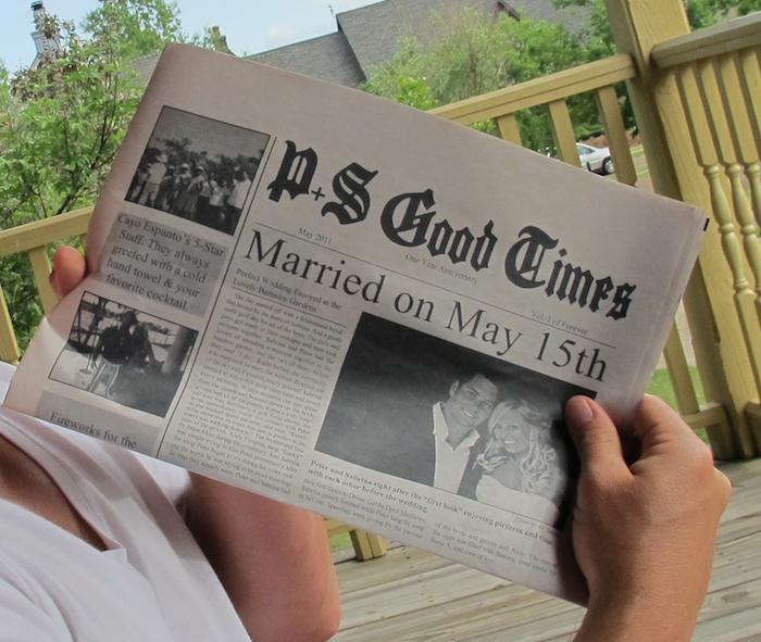 Gute Zeiten ist der Titel dieser Zeitung, die über die Hochzeit berichtet - Beispiele