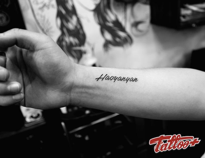 werfen sie einen blick auf diese idee für einen sehr schönen schwazen tattoo - tattoo schrift