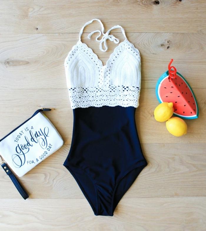 strandkleidung damen schwarz und weiß melon zitrone tasche kosmitik