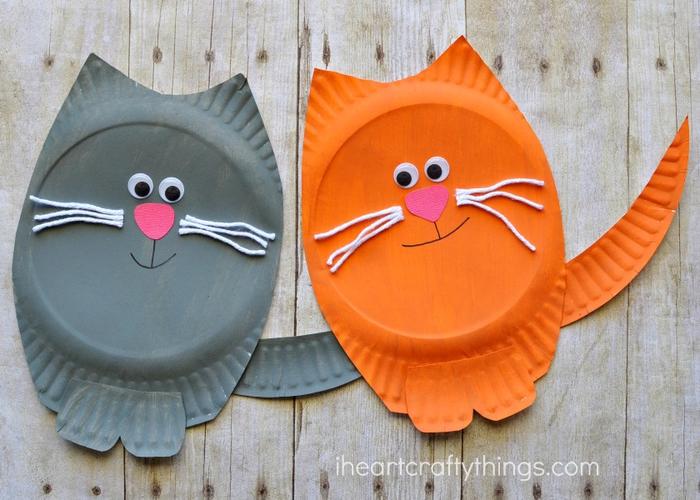 Katzen aus Papiertellern basteln, lustige und kreative DIY Ideen für Kinder zum Nachmachen