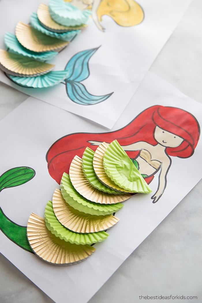 Meerjungfrau Bild ausmalen, Meerjungfrau Schwanz aus bunten Filtern, DIY Ideen für den Kindergarten