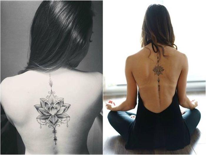 Frau mit langen dunklen Haaren mit einem Lillien-Tattoo am Rücken