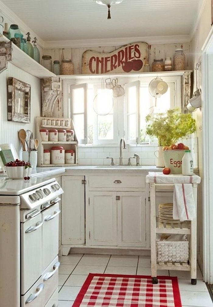 shabby deko, küche in weiß einrichten, küche in vintage-look