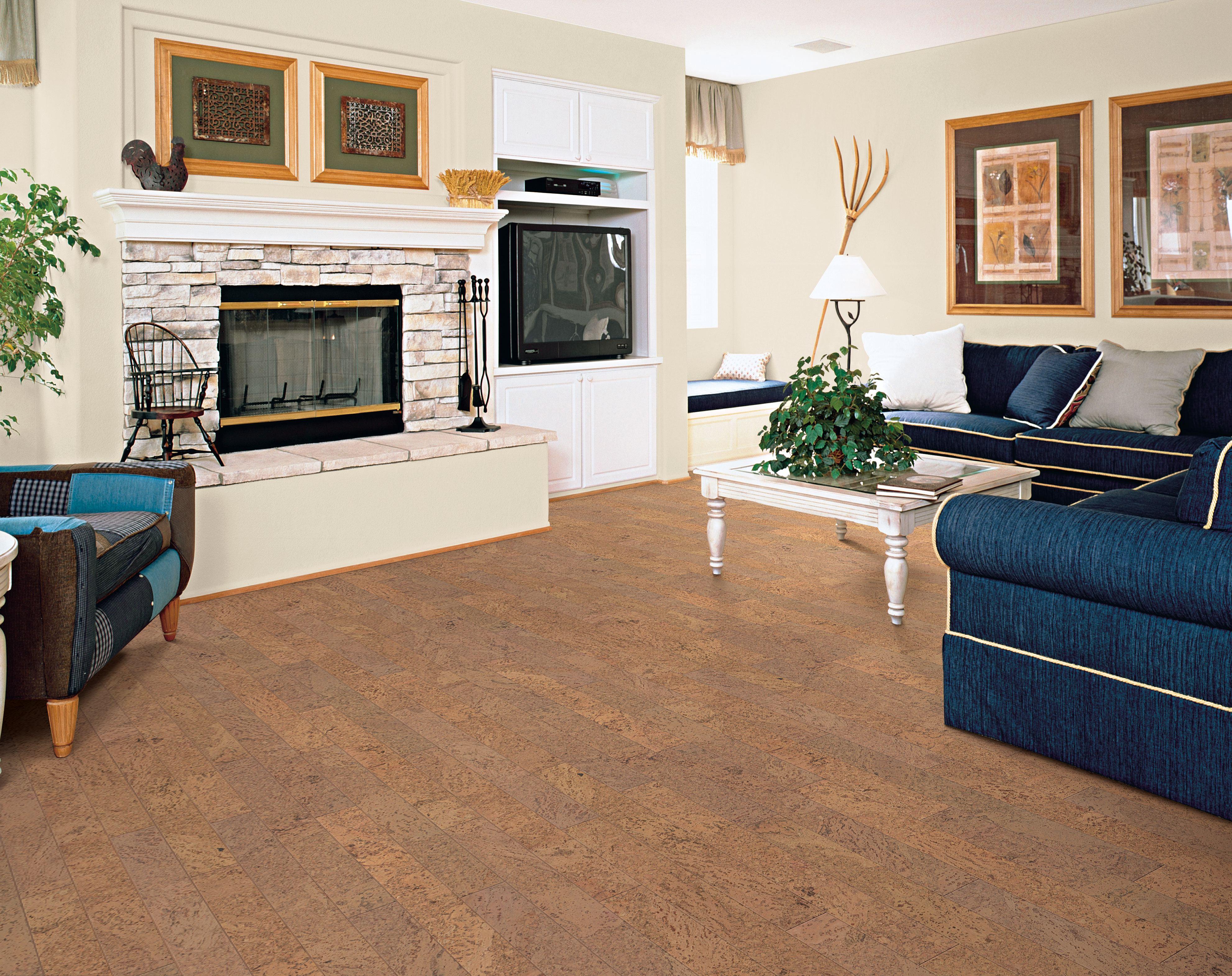 ein Wohnzimmer mit Kork Boden blaue Couch ein Kamin zwei abstrakte Bilder Fernseher
