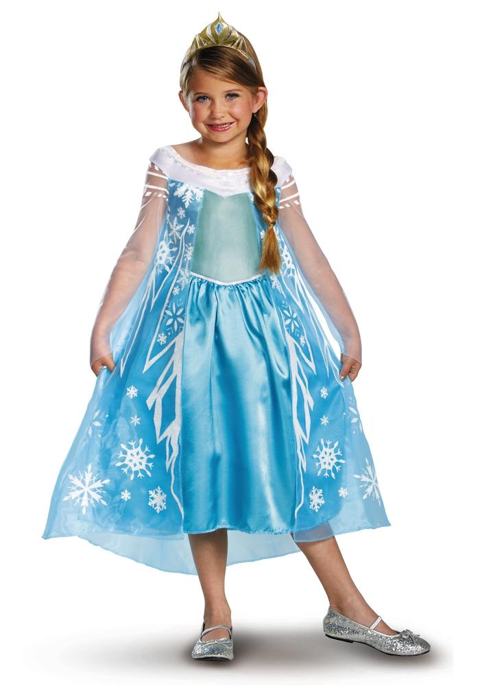 Kindergeburtstag organisieren, wunderschöne Disney Kostüme, hellblaues Kleid mit Schneeflocken, die Eiskönigin Elsa