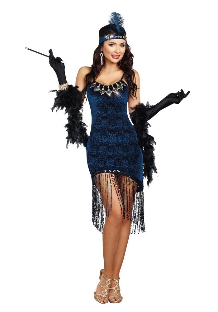 Motto Party organisieren, Thema- Kabarett, dunkelblaues Kleid mit Fransen und Federn