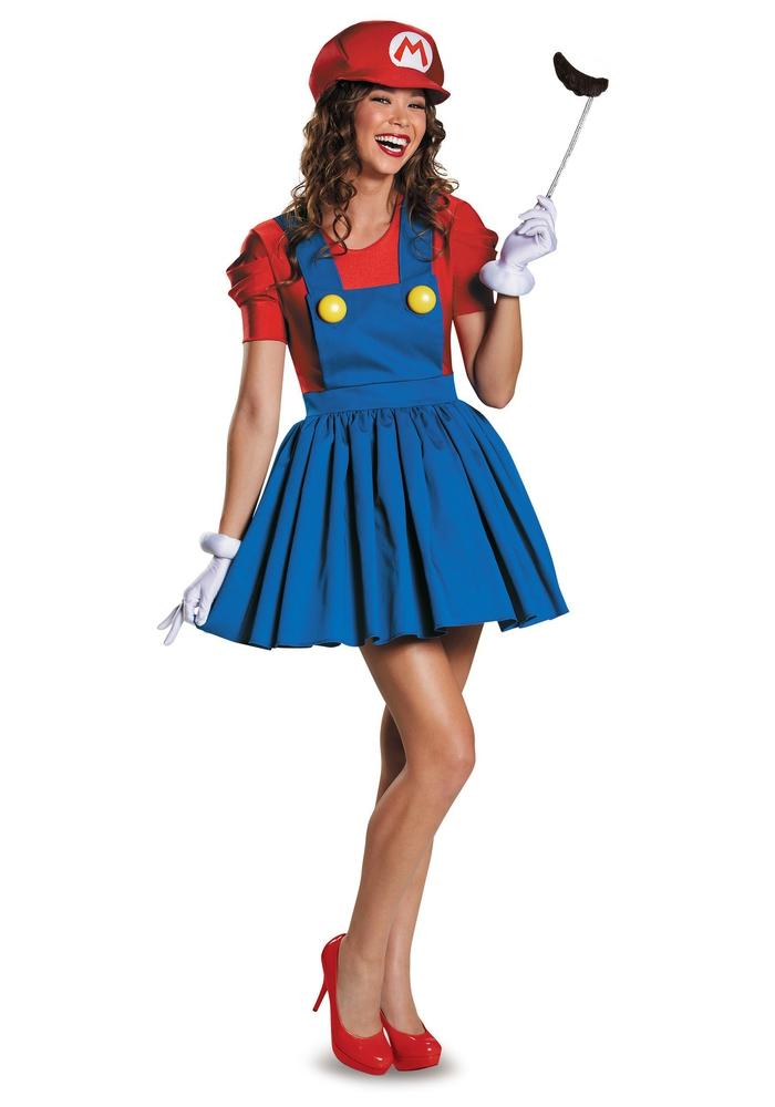 Motto Party organisieren, coole Ideen, Super Mario-Kostüm für Damen, Ideen für Maskenball
