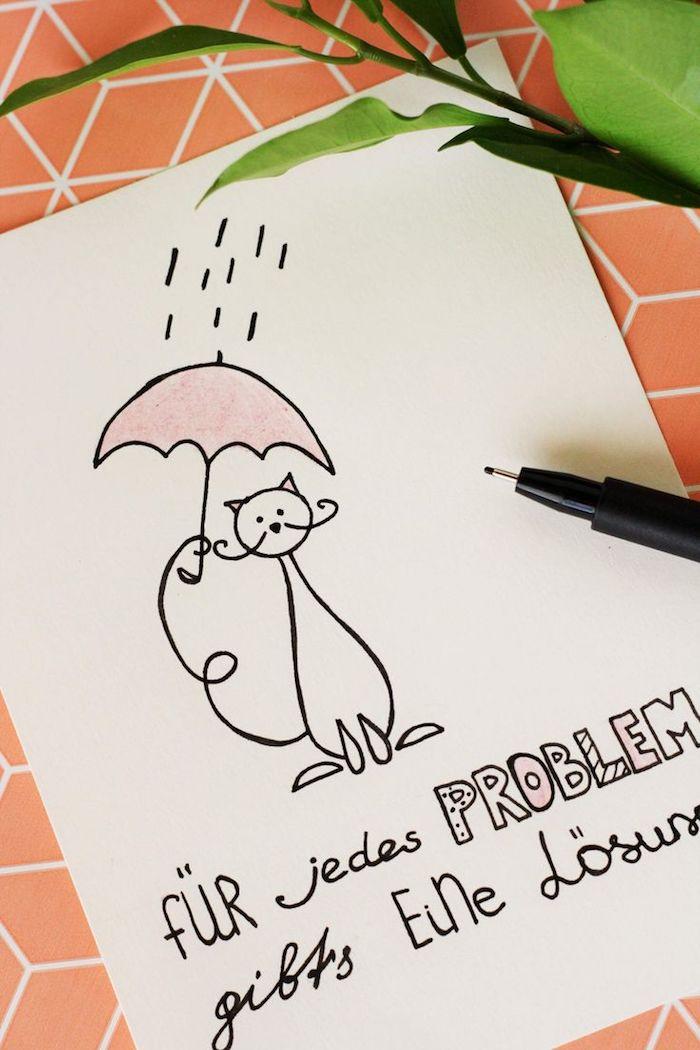 motivierende sprüche in form einer karte tolle idee lösung gibt es für jedes problem katze