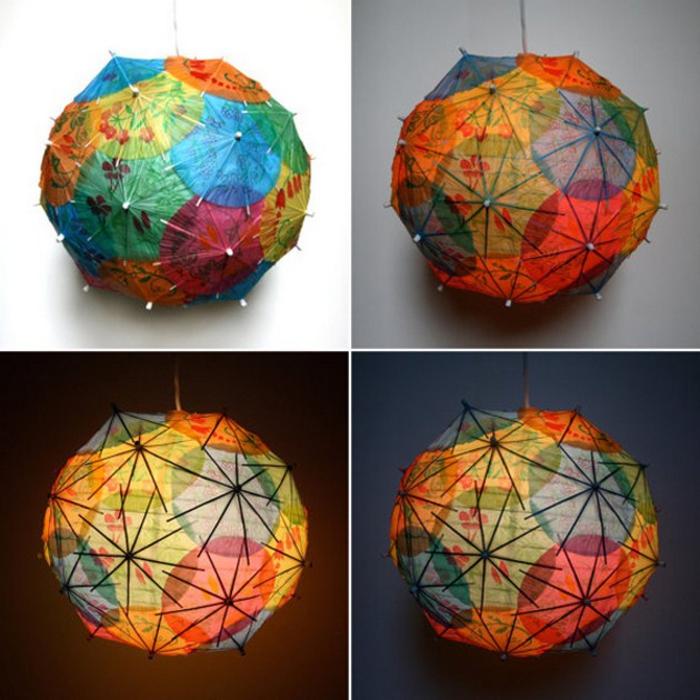 Lampenschirme aus bunten Cocktailschirmchen selber basteln, inspirierende DIY Projekte