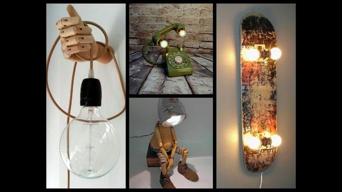Lampen aus alten Gegenständen (Skateboard, Telefon und Puppe) selber machen, DIY Ideen für Erwachsene