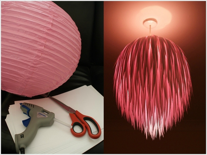 Lampenschirm selber basteln, Materialien: Schere, Heißklebepistole und Papier