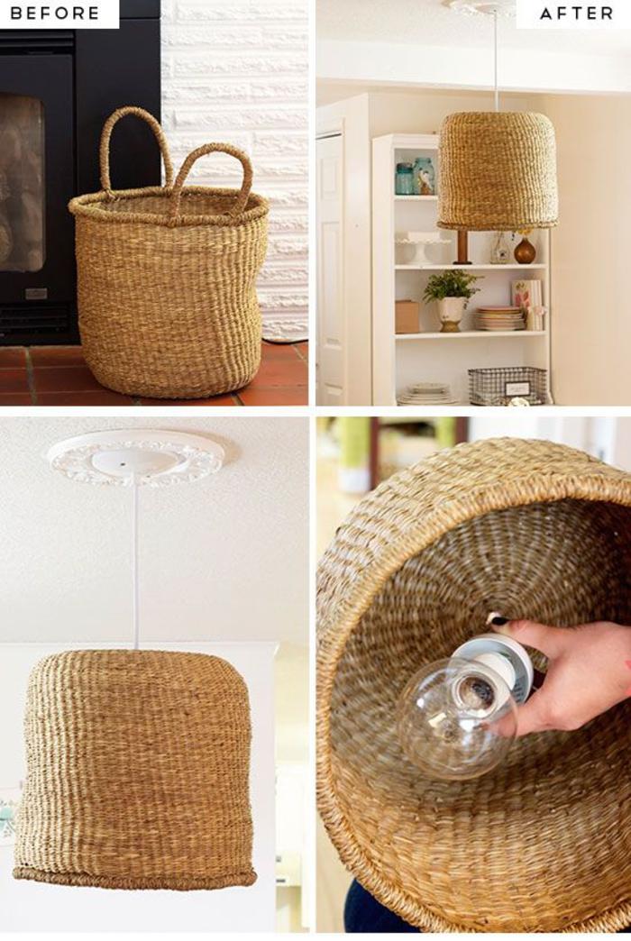 Lampenschirm aus Rattankorb selber basteln, DIY Ideen und Anleitungen mit Rattan