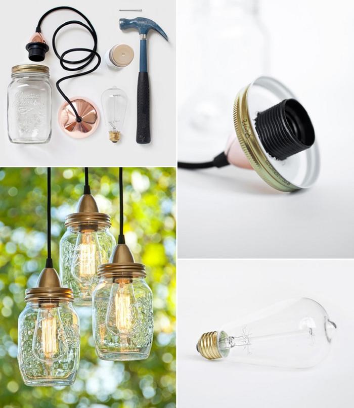 Lampe aus Glühbirne und Glas selber basteln, Materialien und Schritt für Schritt Anleitung