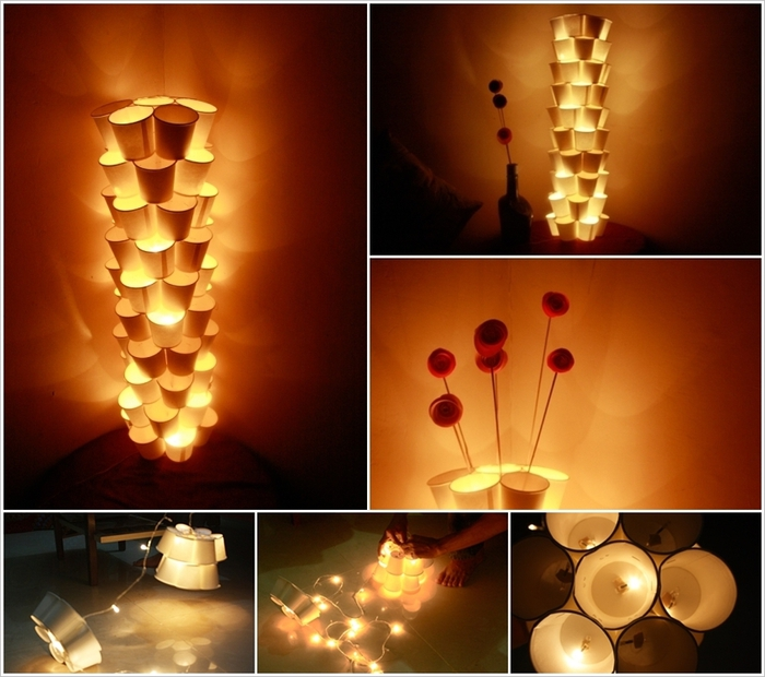 Lampe aus Pappbechern selber basteln, inspirierende DIY Projekte für Erwachsene