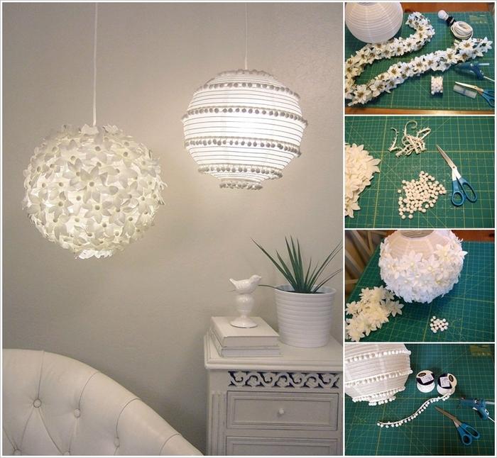 weiße Blumen aus Papier schneiden, Girlande basteln, Lampenschirm verzieren, Schritt für Schritt Anleitung