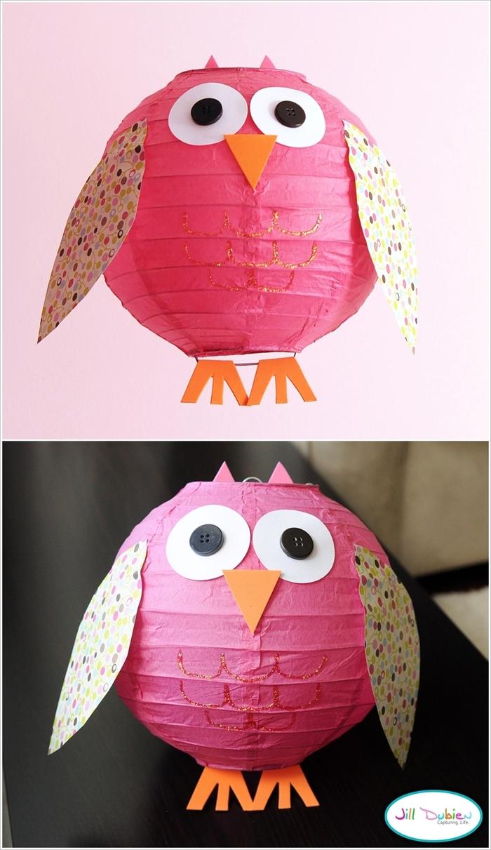 Uhu-Lampe, Lampenschirm mit Papier und Knöpfen dekorieren, inspirierende DIY Ideen