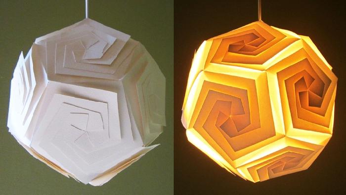 Lampe selber basteln, Lampenschirm aus Papier schneiden, DIY Ideen für Erwachsene