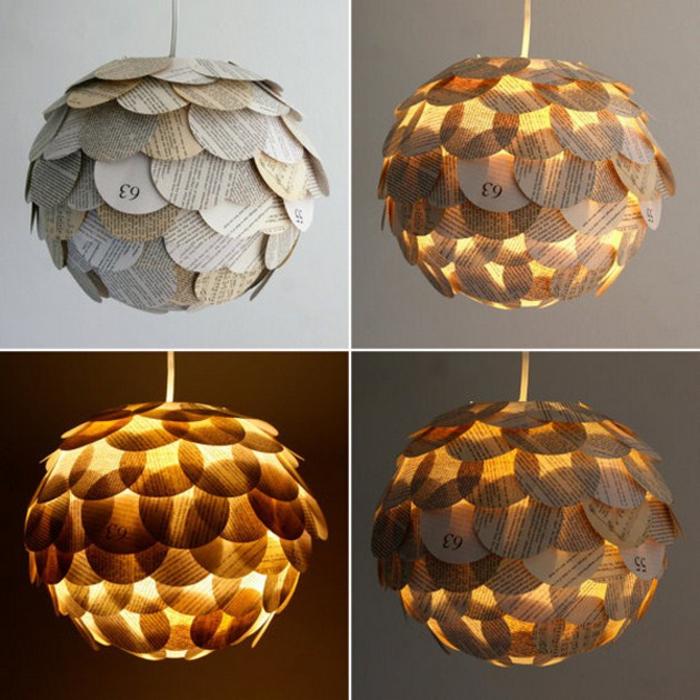 Lampenschirme selber basteln, Kreise aus Zeitungspapier schneiden und aufkleben