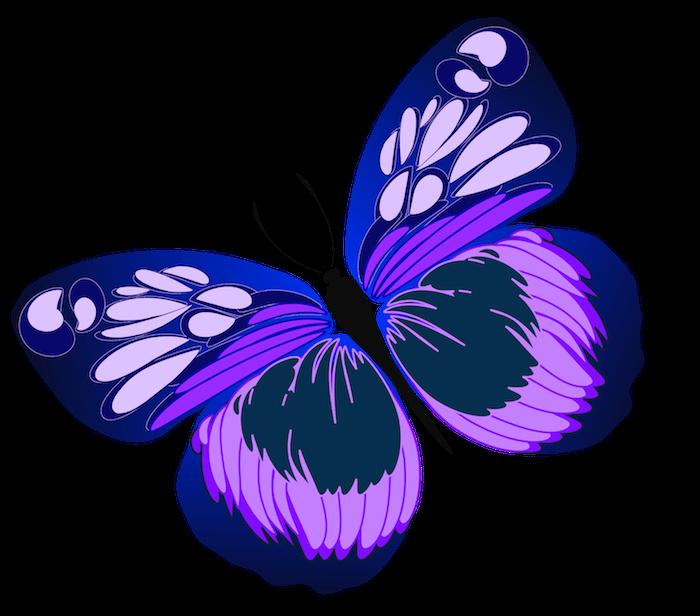 eine unserer zahlreichen ideen zum thema tattoo mit einem märchenhaften, fliegenden schmetterling mir zwei lila flügeln