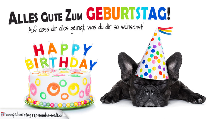 lustige Geburtstagskarte mit Hund, alles Gute zum Geburtstag, bunte Torte mit Kerzen