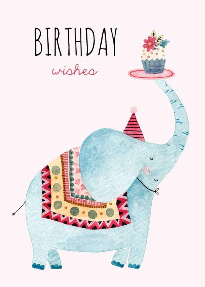 lustige und süße Geburtstagskarte mit einem Elefanten, Geburtstagsglückwünsche