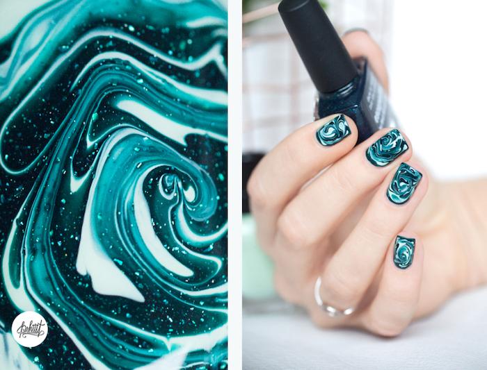 nägel muster, nageldesign in grün und weiß, nagellack mit glitzer