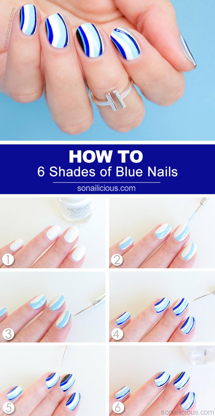 nageldesign galerie, fingernägel lackieren, nageldesign in weiß und blau
