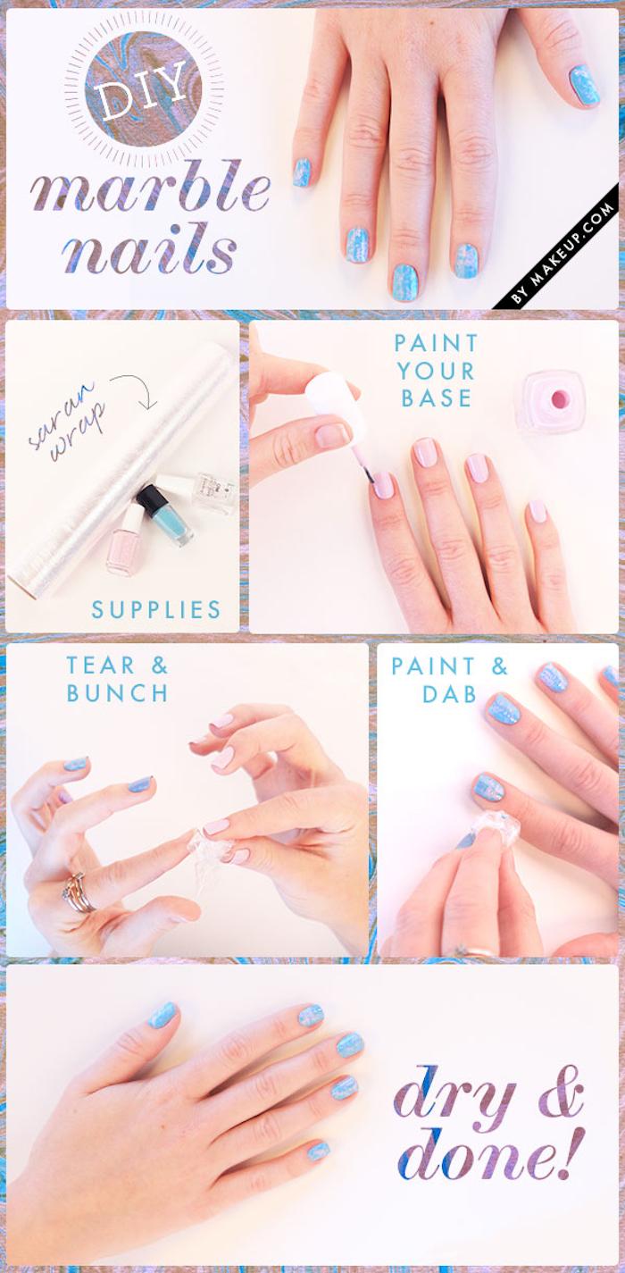 nailart bilder, nageldesign in weiß und blau mit marmor-muster
