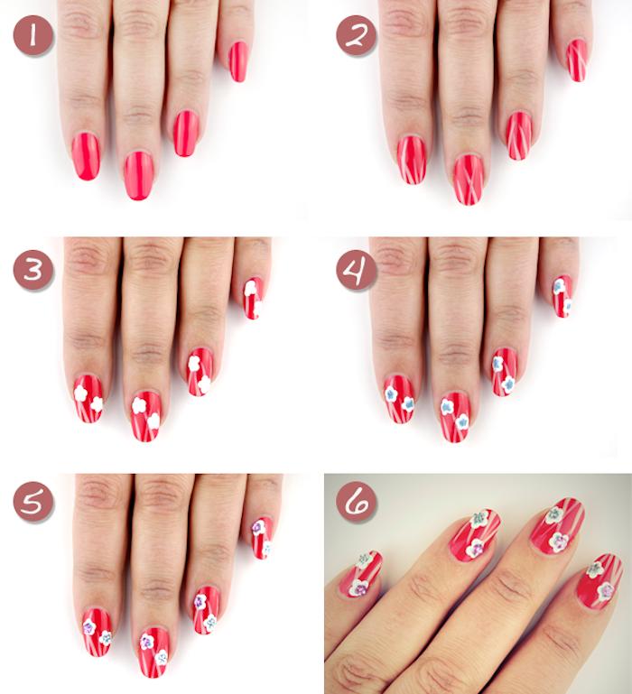 fingernägel muster, lange nägel, nageldesign in rot mit weißen blumen