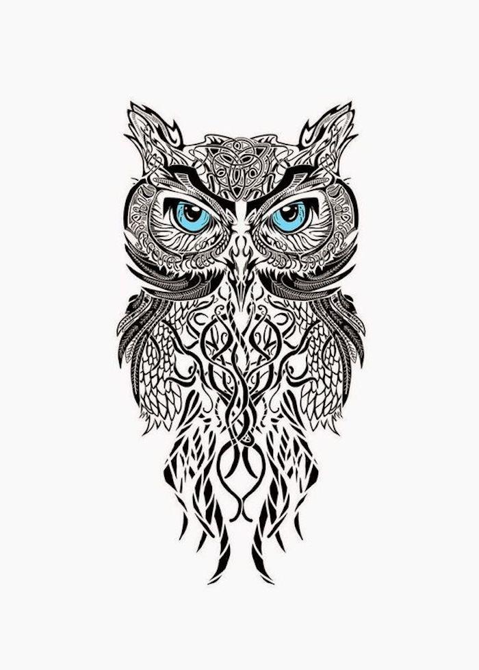 ein uhu mit blauen augen - idee für einen schwarzen großen owl tattoo