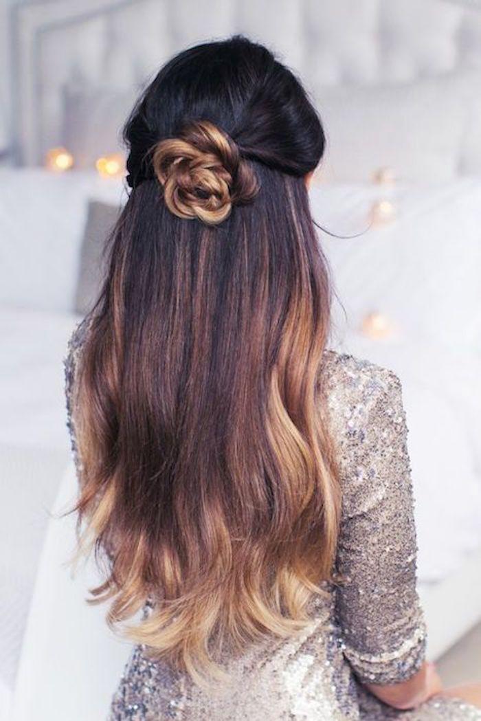schöne dekoration aus der eigenen haaren machen blume blond blonde spitzen