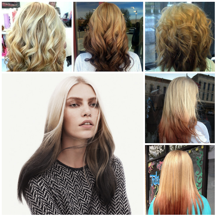haare ombre spitzen in verschiedenen farben ausgefallene ideen für haarfrisuren model