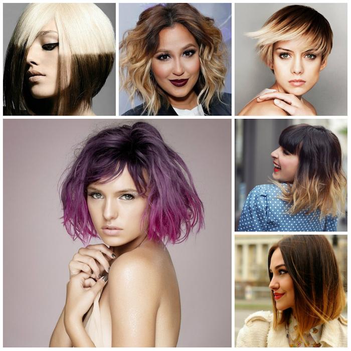 ansatz dunkel spitzen hell gestaltungen in verschiedenen farben lila blond braun