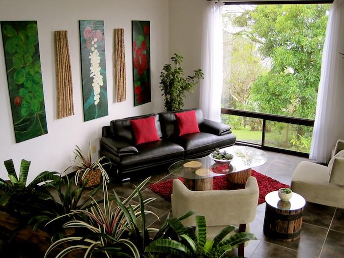 drei Bilder am Wand viele Pflanzen für dunkle Räume fern von dem großen Fenster