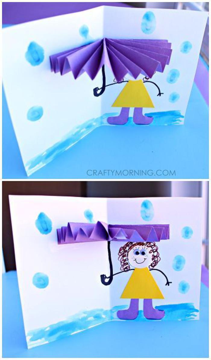 lustige und kreative Postkarte selber basteln, 3D Regenschirm, DIY Ideen zum Nachmachen