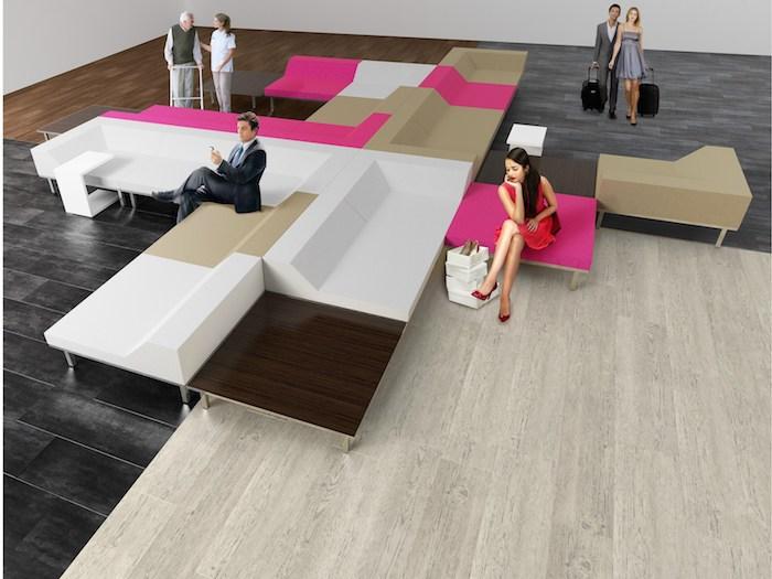 vier Farben von PVC Bodenbelag für verschiedene Situationen dunkle und helle Nuancen