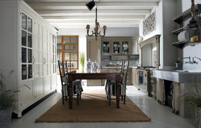 retro küche braun weiß esstisch aus massiv holz und teppich darunter