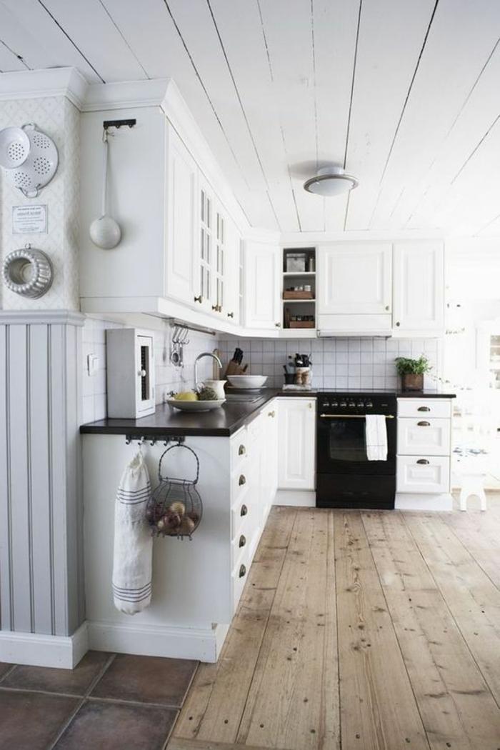 dielenboden und dielendecke im landhausstil shabby chic küche gestalten