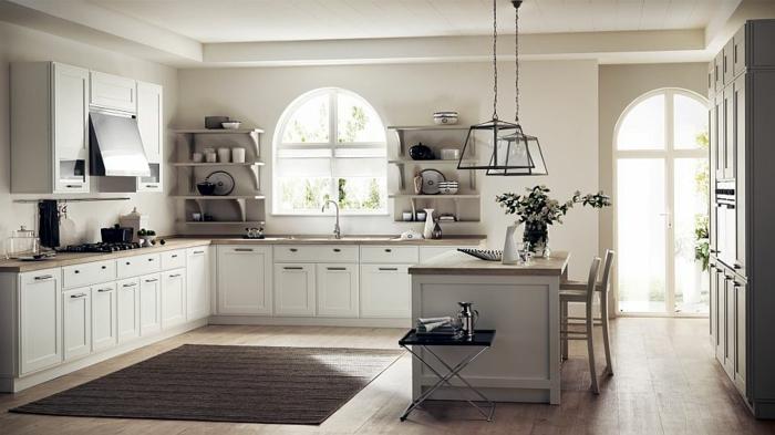 design retro küche pastel farben tellerboard theke und hocker