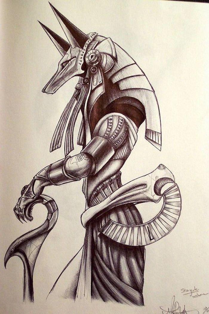 eine Zeichnung der ägyptischen Göttin der Geburt, Wiedergeburt und Magie Isis