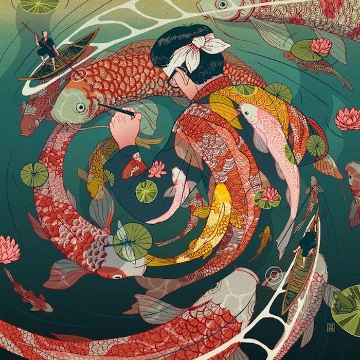 eine japanische Zeichnung von einem Mann, der von zwei Booten umkreist ist