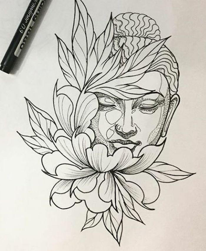 Buddha-Kopf mit einem Dutt, geschlossene Augen, Pflanzenblätter