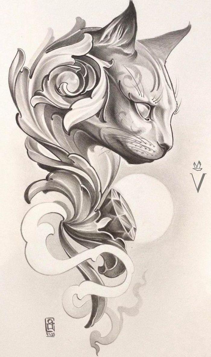 Zeichnung von einer Katze mit mysteriösen Augen, Buchstabe V, kleines Vogel
