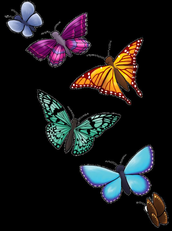 hier finden sie verschiedene sechs fliegende schmetterlinhe - ein blauer, ein gelber, ein grüner und ein lila ufliegender schmetterling - verschiedene ideen zum thema 3d tattoo schmetterling