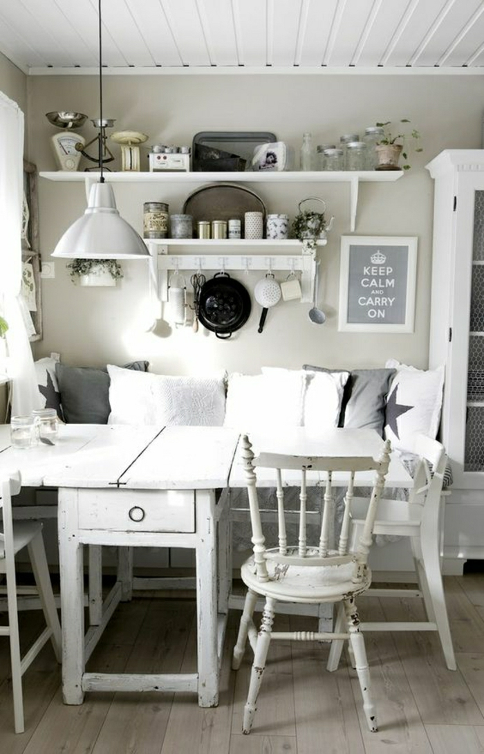 Sitzecke in der küche shabby chic weiß gestalten shabby deko