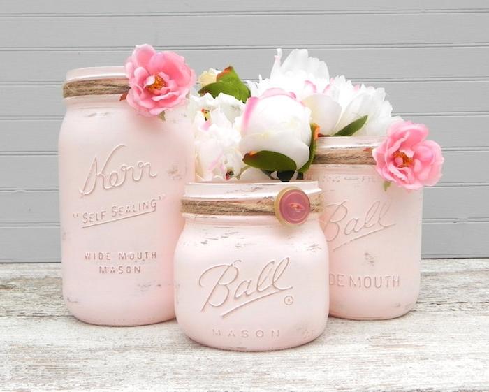 shabby deko, diy vasen aus einmachgläsern dekoriert mit rosa farbe und leinenschnur