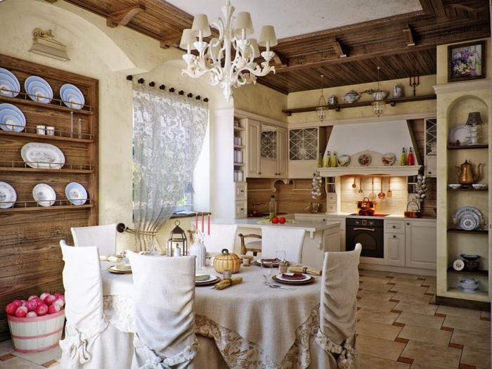 Landhaus retro küche und sitzecke mit tellerboard antike gestaltung